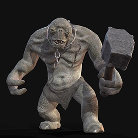 Low-poly model of cave troll for fantasy projects