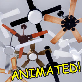 10 animated, fully adjustable ceiling fans for your arch vis or game projects - drag and drop!