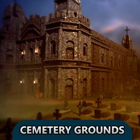 Contains modular pieces to easily construct a cemetery environment