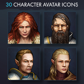 Set of 30 realistic character avatar icons in fantasy theme.