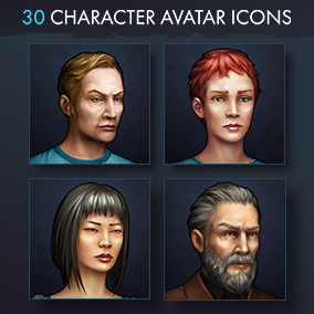 Set of 30 realistic character avatar icons in modern theme.