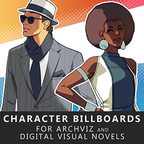 A bundle of hand drawn characters suitable for archviz inserts, digitial novels, and backgrounds