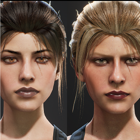 A game-ready female character with extensive facial and body customization.