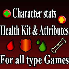 Health / Armor / Mana / Stamina / Condition / Thirst / Hunger / Bleeding / Poisoning / Broken bone / Damage from falling / Regeneration / Experience / Level / Point Experience