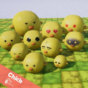 Chick  3D Characters with 5 Animations.