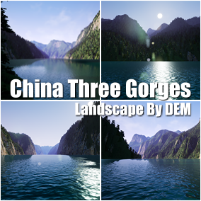 This is the China Three Gorges landscape made by the satellite digital elevation model