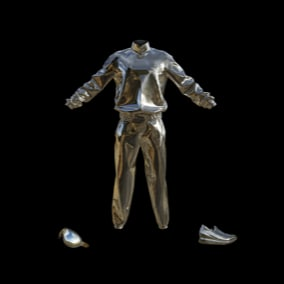 Futuristic chrome outfits with matching accesorries