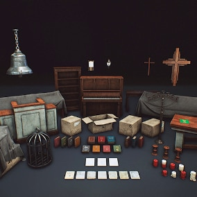 Church prop collection to help you fill in your church buildings.