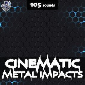 A sound pack of cinematic sound effects of metal impacts, designed in a dark style.