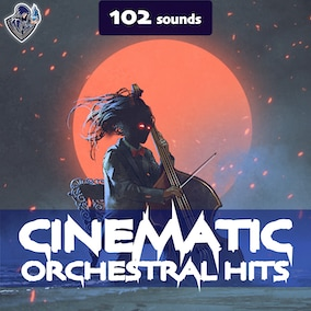 A sound pack of cinematic sound effects of orchestral hits, designed in a dark style.