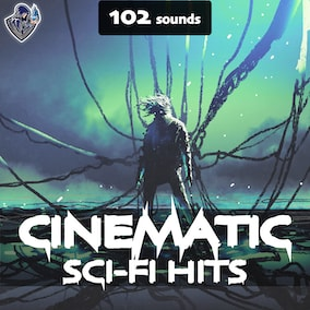 A sound pack of cinematic sound effects of futuristic hits, designed in a dark style.
