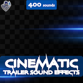 A big collection of cinematic sounds for trailers, including braams, hits, risers, whooshes, glitches, shutters, downers and drops.