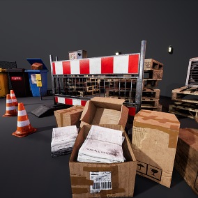 A collection of 23 high quality alley props like trash, cartons, garbage cans, pylons and construction site barriers, news papers, a wooden palette, a fence etc.