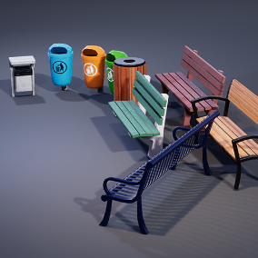 The City Park Props Set contains different public benches and trash cans for filling up a park or spice up a city scene.