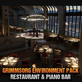 A Classy Restaurant & Piano Bar overlooking a nighttime city skyline. This project includes everything pictured except the arch viz characters. Each asset was created for realistic AAA quality visuals, style, and budget.