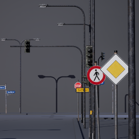 23 high quality meshes. Fill up your street with signs, traffic lights, customizable street name signs and billboard and a bus stop.