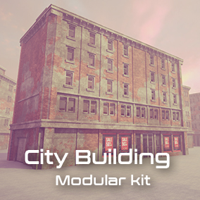 City building modular kit with highly customizable materials. Building looks like it was built in the 1960s, but in modern times.