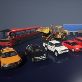 Set of low-poly city vehicles.