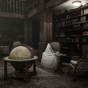 A mansion environment inspired by iconic horror games and movies.