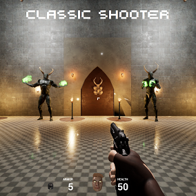 Classic Shooter starter pack with weapons, models and animations, pickups, doors, switches, enemies with AI and more...
