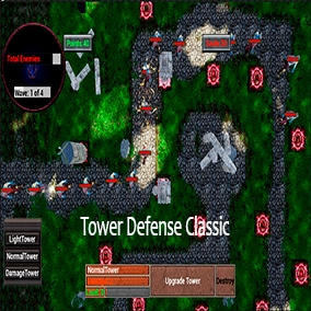 Tower Defense Classic Template with full customization. Tower selection UI with stats