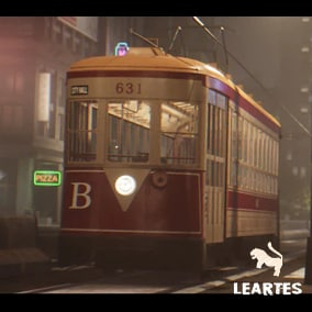 Classic Tram Driveable / Animated / Realistic / Customizable, Fully Customizable with separate Parts / Blueprints / Material Instances