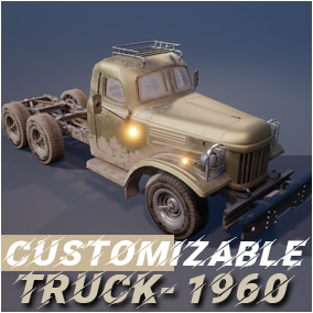 Low poly Truck 1960. Blueprint, Static meshes, Textures, Materials.  Light / door animation, Customization