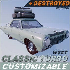 """Game ready """"West Classic Coupe"""" [NOT Driveble]. Blueprint, Static mesh, Textures, Materials. (Customization, Light/doors animation, Destroyed)"""