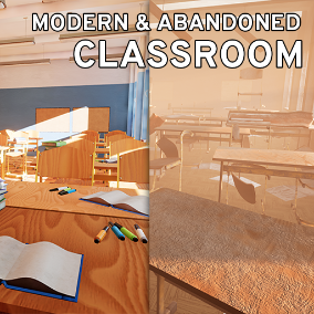 Modern and abandoned classroom environment pack - from walls to pens.
