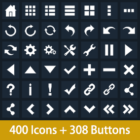 400 Vector Flat Icons and 308 Buttons.