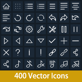 400 Vector Flat Icons and 160 buttons.