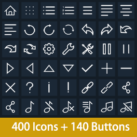 400 Vector Flat Icons and 140 buttons.