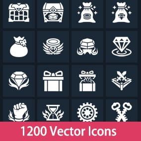 1200 flat vector icons at 3 resolutions.
