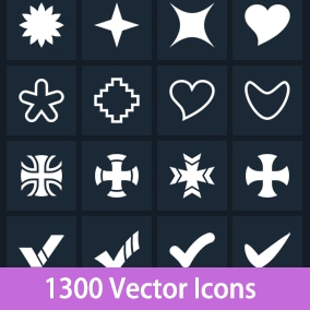 1300 flat vector icons at 3 resolutions.