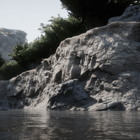 Modular cliff meshes with variations that can seamlessly blend with each other