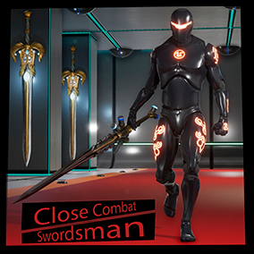 The package contains: a combat system, a fully animated character set with a sword, a move system (walk, run, jump), and a system for increasing the level of the character.