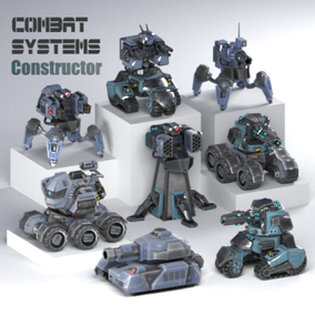 The package contains 14 ready combat units assembled from various modules, and a set of parts this will allow you to create your own combination of combat vehicles and robots.