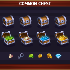 Common treasure chest with rewards.