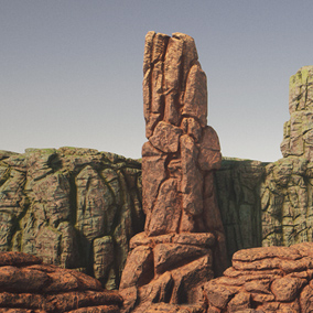 Rock pack containing 29 individual rock models ranging from small to large rock formations and cliffs. All of the material instances have two variations, desert rock or forest rock styles.