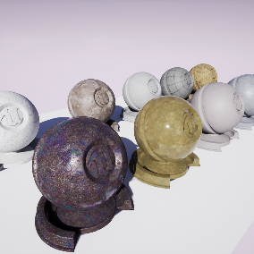 Selection of ten assorted PBR concrete materials ready to use.