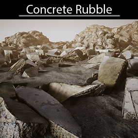 High quality concrete debris models with 2k Textures, 1 master material for ground. All models include 4 LODs.