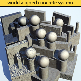 Concrete world aligned automatic material system