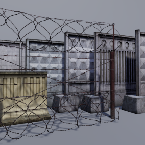 Concrete and metallic fence pack with modular models.