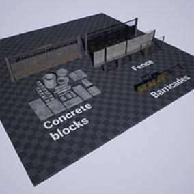 Concrete blocks and modular fences.