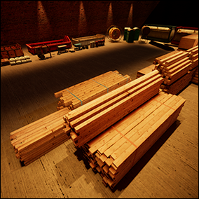 Lumber, Cement, Rebar, Trolleys, Tools, Gas Tanks, Warehouse Props and Sounds.