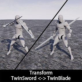 This package includes 8 transition animations that can switch the form of weapon between Twinblades and TwinSword.