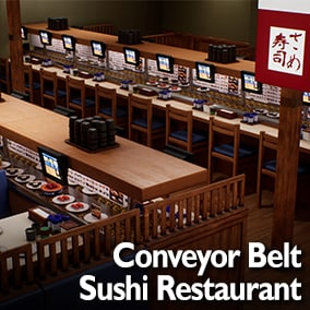 Realistic Japanese Conveyor Belt Restaurant for your games, visualizations or visual novels