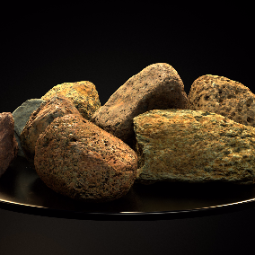This scanned stone pack consist of nine small stones.