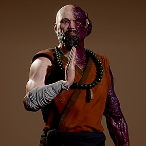 Realistic Corrupted Monk character ready to be a part of your projects