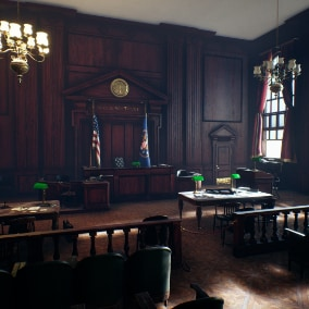 86 static meshes to create a full-fledged courtroom